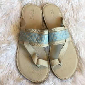 New!! Toms cream & blue Leather Sandals